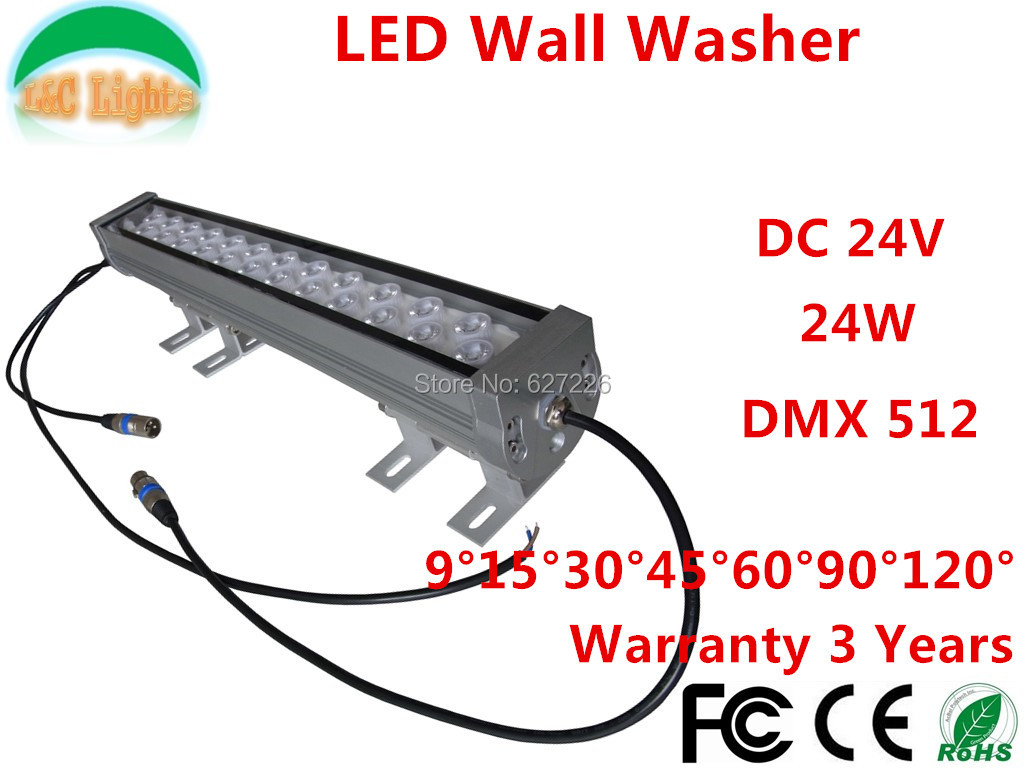 24W LED Wall Washer DC 24V Landscape lighting DMX512 RGB change color LED Building clearance light Warranty 3 Years high Quality 24w led wall washer rgb color dmx wallwasher advertising lamp dc 24v