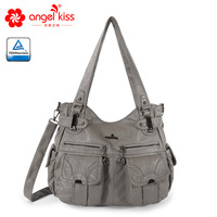 Fashion Skin friendly 2 Top Zippers Multi Pockets Purses Washed PU Leather Tote Bags Shoulder Women Handbags