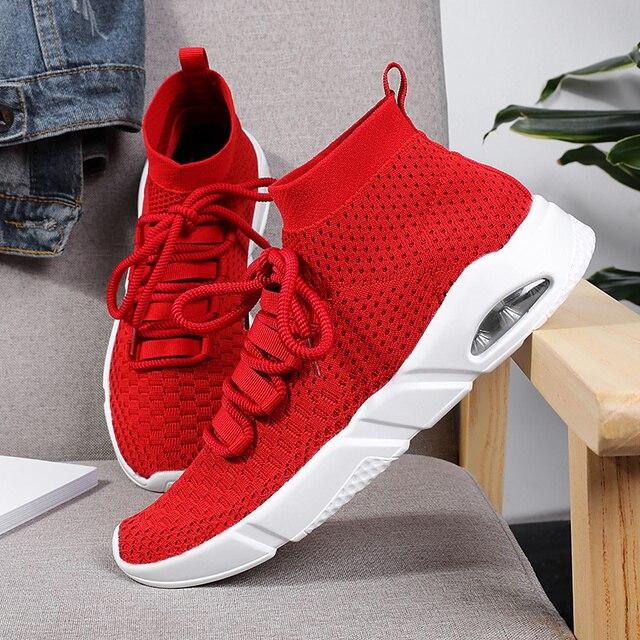 Novo 2019 Homens Sapatos Casuais Respirável Sapatos Flyknit Tênis de Luz Sola PU Sapatos Masculinos Chaussure Homme Vermelho Preto Cinza Plus Size 11 12