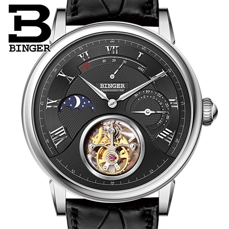 BINGER Watches Men Brand Luxury Seagull Automatic Movement Watch Male Tourbillon Sapphire Alligator Hide Mechanical B80801-2