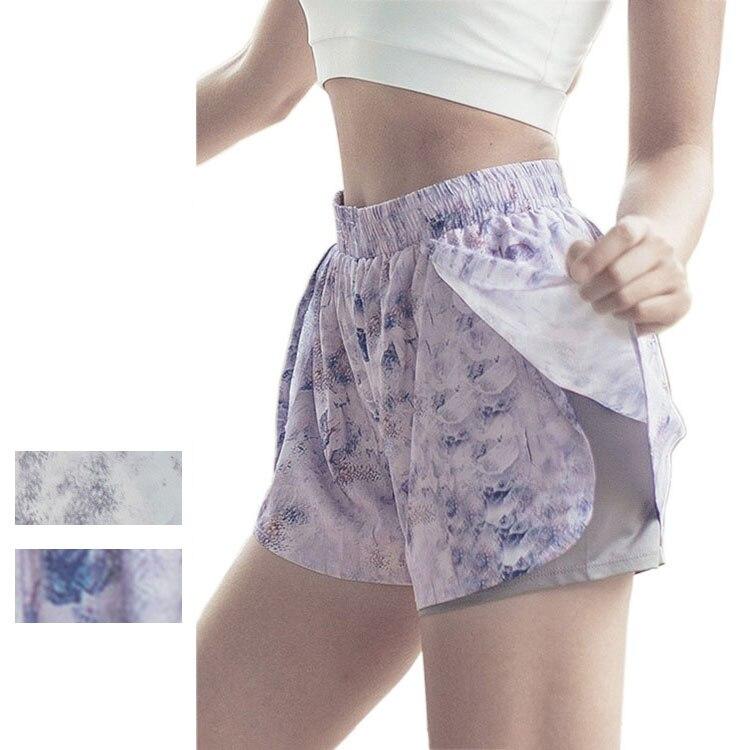 ★  Женские двухэтажные шорты для йоги Sexy Print Быстросохнущие шорты для бега Yoga Wear Loose Gym Fitn ★