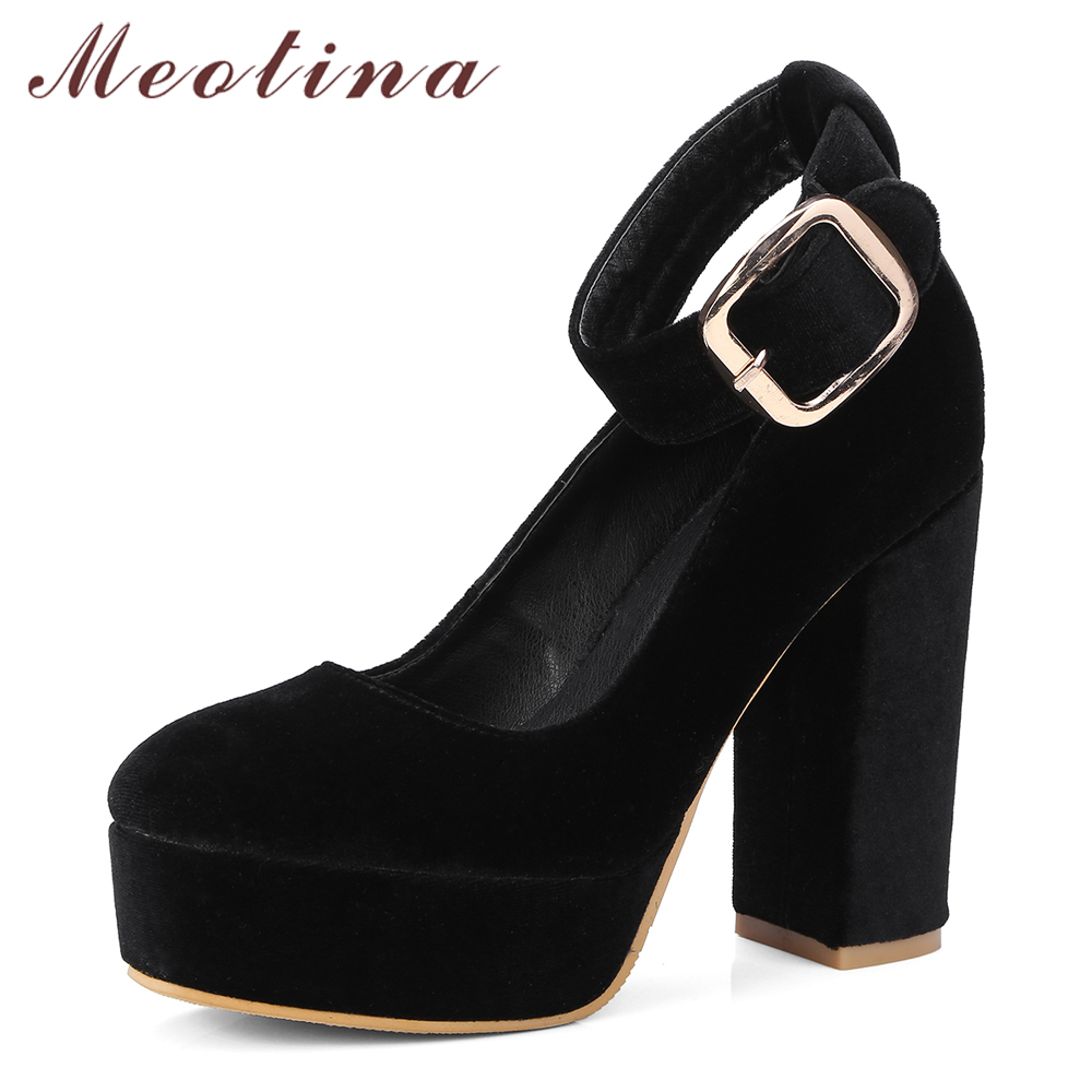 Meotina High Heels Women Shoes Platform Thick High Heels Shoes Sexy Square Toe Ankle Strap Pumps Ladies Spring Red Big Size 3-10
