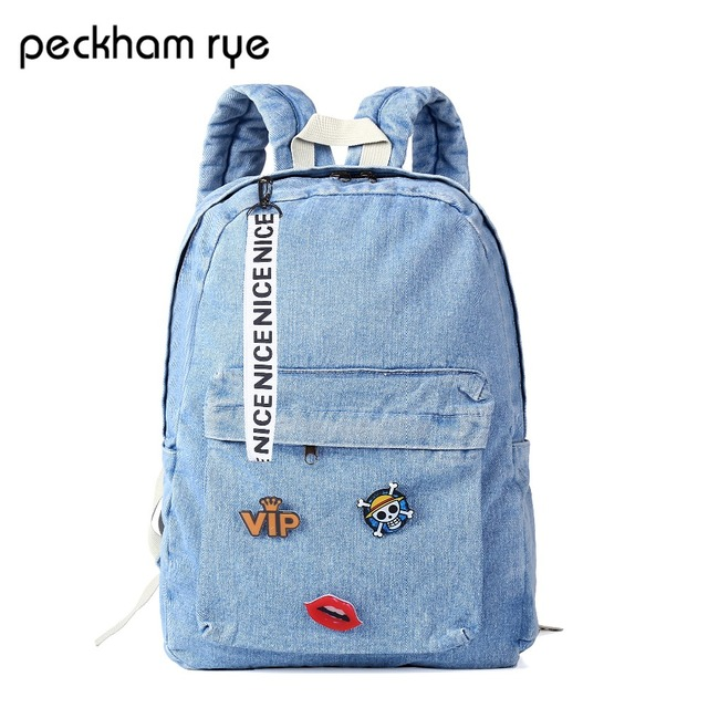 1bfceb5e38 PECKHAMRYE 2018 canvas Backpacks school backpack for teenage girl vintage  Denim Backpack Women blue Schoolbag cute child Jeans