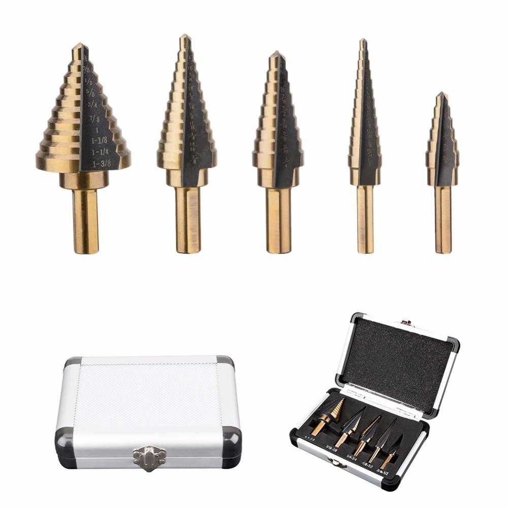 5Pcs/Set HSS COBALT MULTIPLE HOLE 50 Sizes STEP DRILL BIT SET w / Aluminum Case doersupp 5pcs hss cobalt multiple hole 50 sizes step drill bit set w aluminum case metal drilling top quality