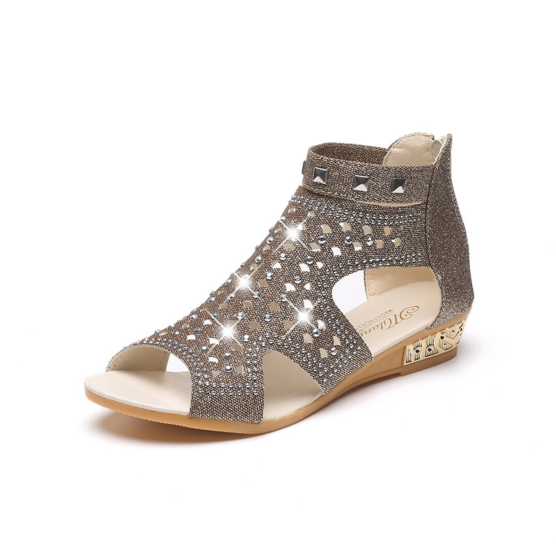 2018 Strap Fersen Frauen Sandalen Sommer Schuhe Damen Frauen Keil Sandalen Mode Fisch Mund Hohlen Roma Schuhe
