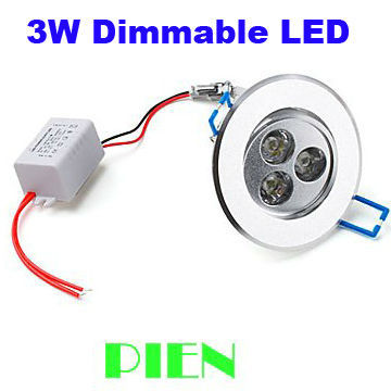 3W dimmable led downlight Spot lamp recessed lumiere aluminum silver for home indoor IP44 110V 220V CE&ROHS by DHL 20pcs