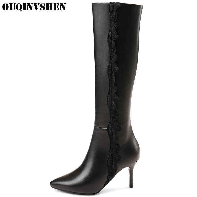 OUQINVSHEN Pointed Toe Thin Heels Women Boots 2017 Winter  Short Plush Ladies Knee Boots Zipper High Heels Lace Women's Boots hot selling 2015 women denim boots pointed toe tassel patchwork knee high boots crystal thin high heels winter motorcycle boots