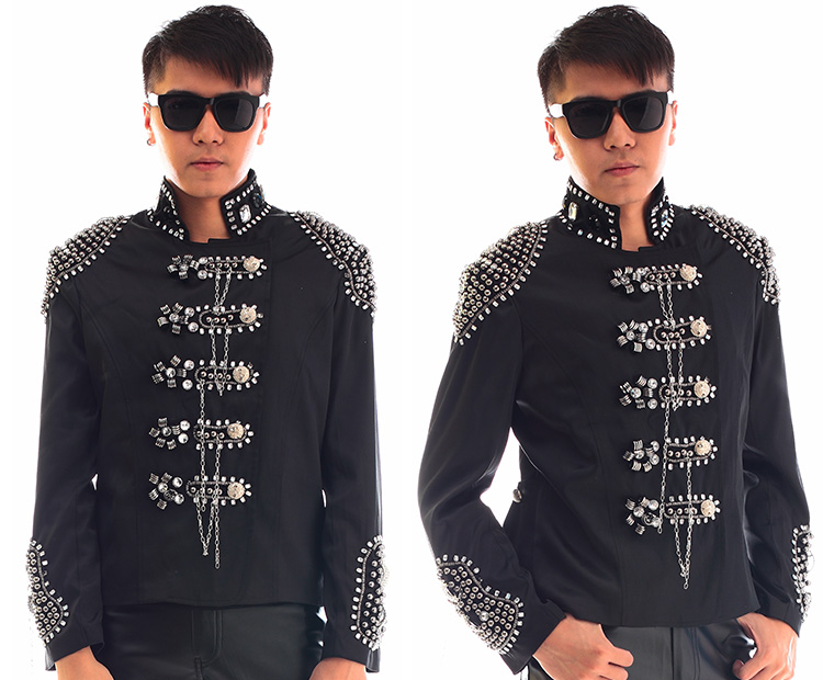2016 Rhinestones Cotton Single-Breasted Black Jacket Nightclub Bar Stage Performance Coat Male Singer Costume Youth Slim wear image
