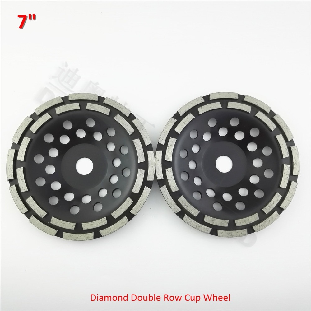 DIATOOL 2pcs 7 Inch Diamond Double Row Grinding Cup Wheel 180MM Grinding Disc Disk Arbor 22.23mm Concrete Masonry Granite Marble asus rt ac 51 u