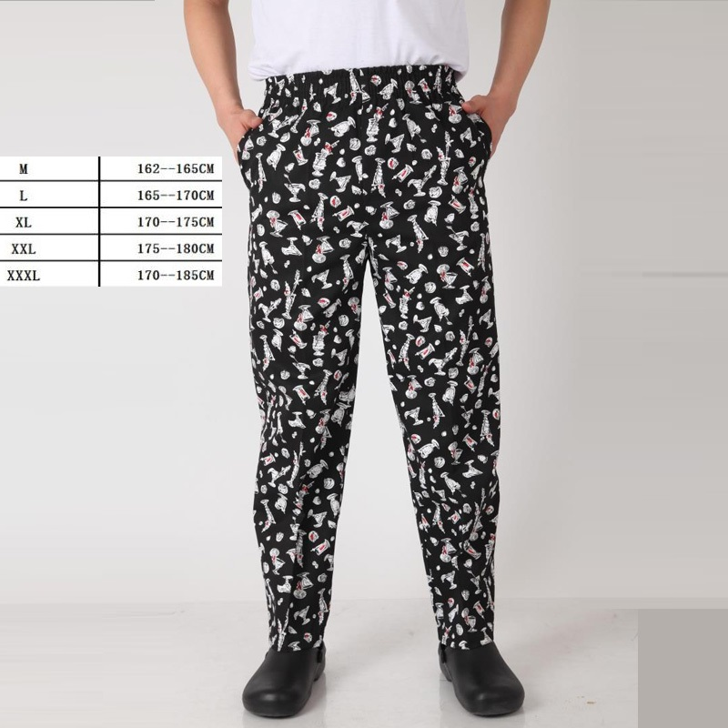 10pcs Hotel Chief Uniform Chef Master Pants Big Size Loose Trousers Men Hotel Kitchen Chef Stripe Printing Work Pants By