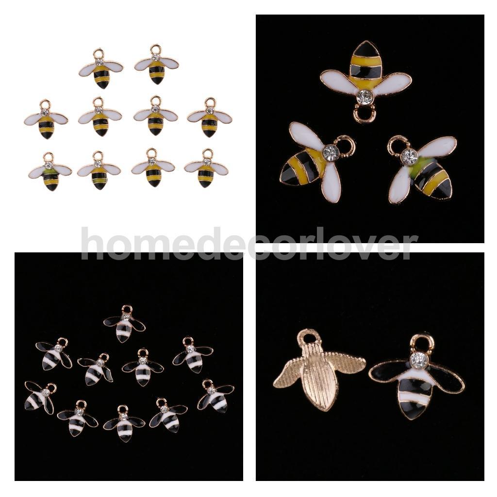 10pcs Bee Charms Pearl Rhinestone Flatback Embellishments DIY Bridal Crafts