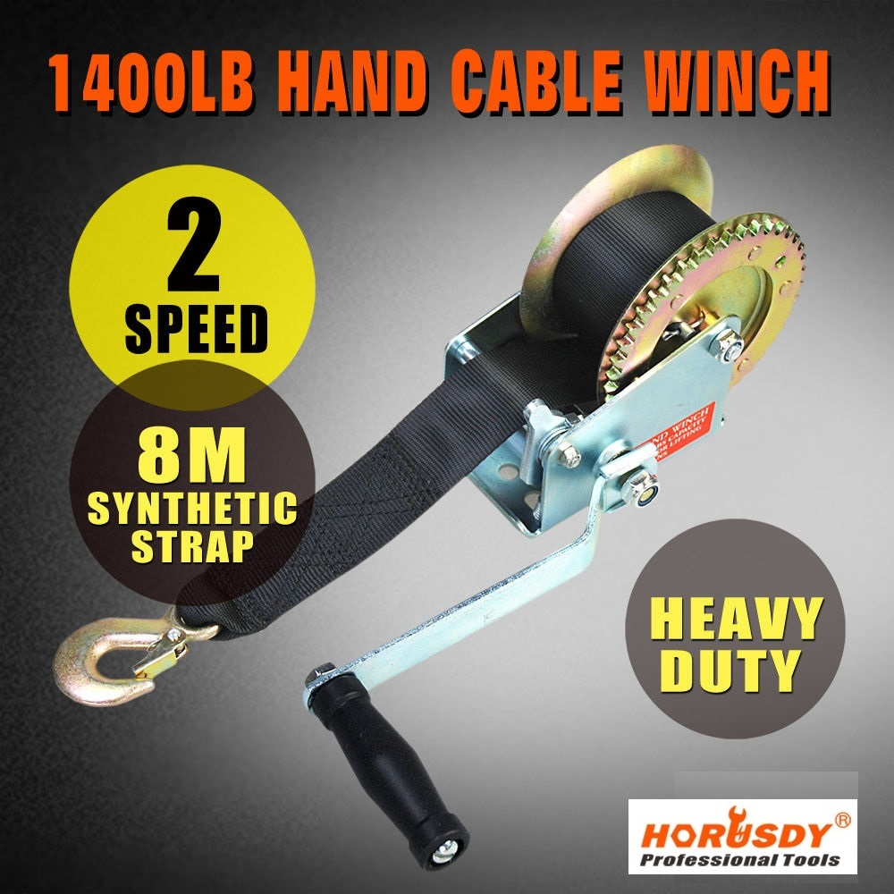 1400 LB 1400 LBS Hand Winch Synthetic Strap Belt Heavy Duty for Boat Trailer 4WD free shipping yacht winch boat winch barge winch 12v 2000lb electric winch