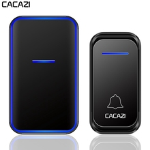 CACAZI Home Waterproof Wireless Doorbell 1 2 Button 1 2 Receiver 300M Remote Intelligent LED Light Door Bell Wireless Chime