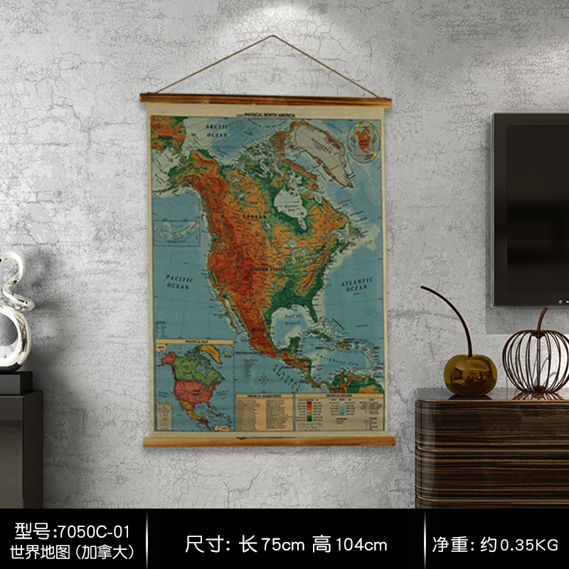 North America map Large Retro Linen Cloth Scrolls Painting Poster ...