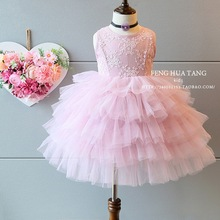 kids clothes Children's infant party dress 2016 roupas infantis menina baby girl dresses embroidery summer pink wedding dress