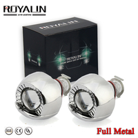 ROYALIN Metal Lens Mini 1.8 Smallest Micro HID Bi Xenon Headlight Projector Lens w/ Shrouds H4 H7 Car Styling Motorcycle lights