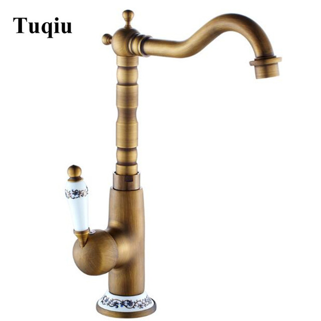 antique bronze kitchen faucet sink snake best quality hot and cold swivel crane single lever brass