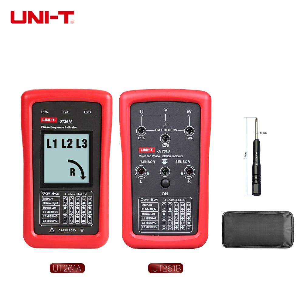 Indicador de secuencia UNI-T UT261B UT261A de 3 fases y indicador de secuencia de fase de engranaje de dirección del Motor