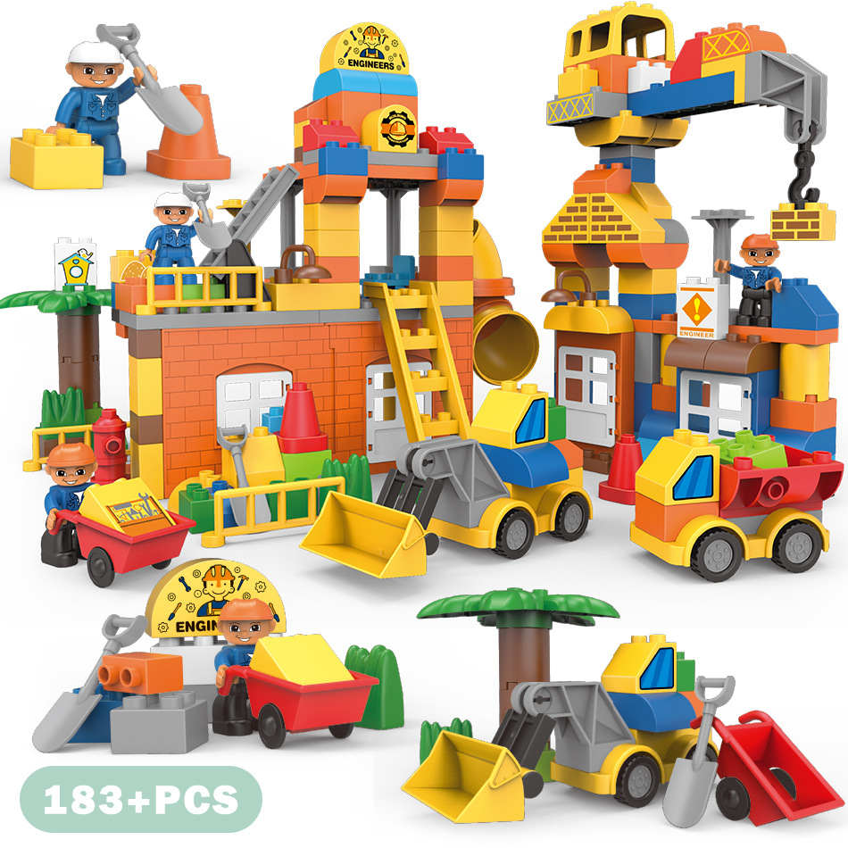 City Big Size Engineering Fire Brigade Figures Building Blocks Sets Compatible Legoings Duplo Bricks Kids Toys Christmas gift qwz 60 90pcs city fire station fire engine duplo large size building blocks fireman figures compatible with duplo for kids toys