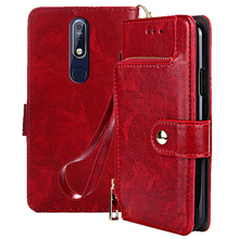 Flip Stand Case For Nokia 7.1 Vintage Holder Wallet PU Leather + Silicon Cover