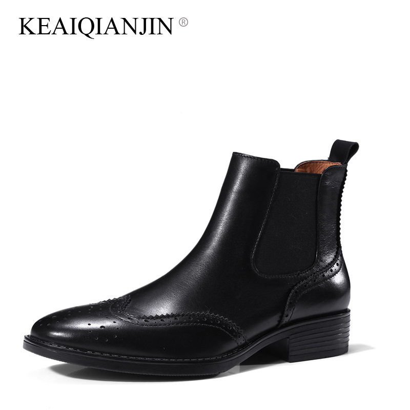 KEAIQIANJIN Woman Genuine Leather Martens Boots Autumn Winter Black Brown Plus Size 34 - 42 Boots Genuine Leather Ankle Boots genuine leather