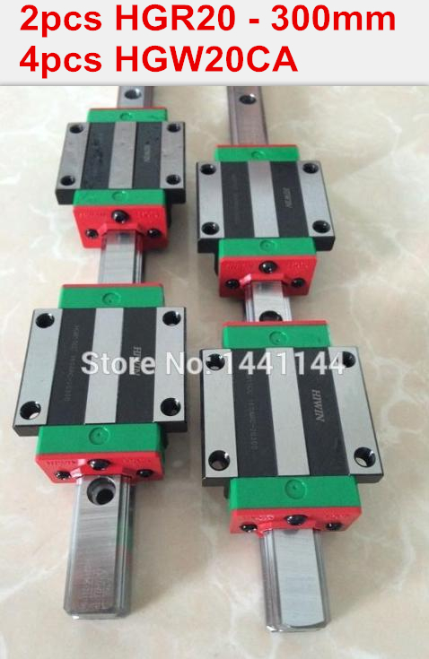 HGR20 HIWIN linear rail: 2pcs 100% original HIWIN rail HGR20 - 300mm rail  + 4pcs HGW20CA blocks for cnc router