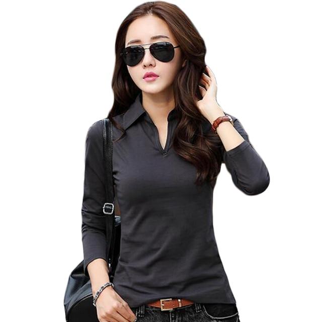 Rihschpiece Sexy Polo Shirt Women Black Long Sleeve shirt Plus Size Tops  Punk Cotton Shirt Slim bdf20757bc