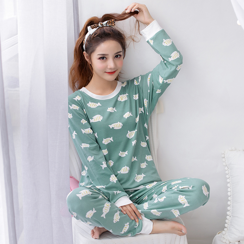 Elegant Luxury Women Comfortable Thin Cotton   Pajama     Set   Girl Print Pyjama   Set   Long Sleeve Sleepwear Women Nightgown   Sets   Girl