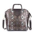 2016 Nuevo Diseñador de Moda Los Bolsos de Hombro de Las Mujeres Famosas Bolso Estampado floral Pequeño Mini Bolsas de Asas de Cuero Genuino Bolsas Bolso Cubo