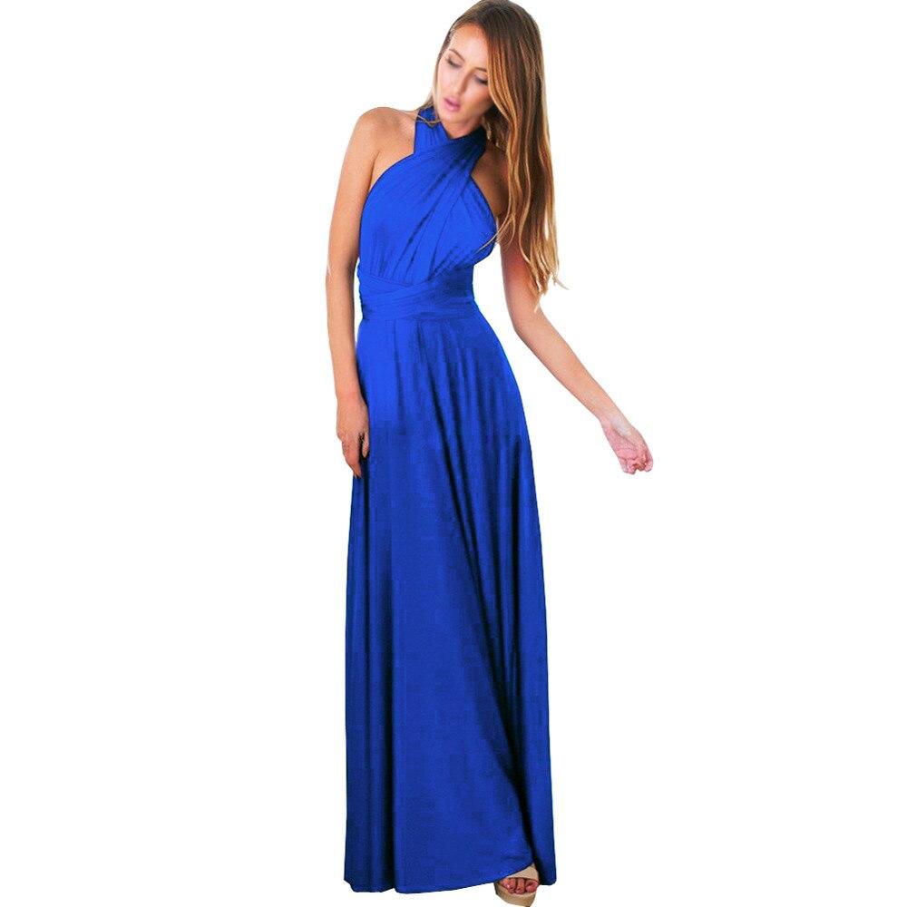 2017 Women dress Convertible Dress Multi Way Wrap Bridesmaid cotton solid color vestidos Dresses Long Beach Backless Sleeveless