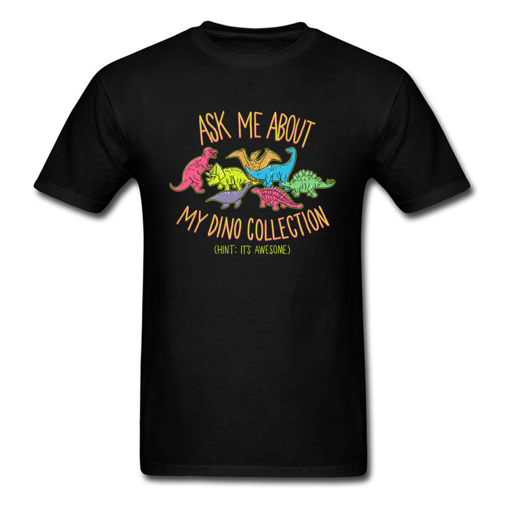 Dino Collection Tops Tees Men Tshirt Awesome Summer Cotton Clothes Student T Shirt Dinosaurs Cartoon Black T-shirt