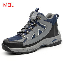 Men's Breathable Steel Toe Safety Shoes for Men Outdoor Anti-slip Steel Puncture Proof Construction Safety Boots Work Shoes 2018 women work safety shoes steel toe puncture proof safety work boots for women pink safety toe casual outdoor work shoes