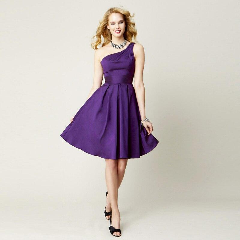 Dorable Púrpura Vestidos De Dama Un Hombro Cresta - Ideas para el ...