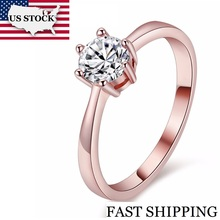 US STOCK Uloveido Wedding Silver Ring Love Crystal Party Rings for Women Gifts Fashion Jewellery Kids Rings Girls DROP SHIPPING