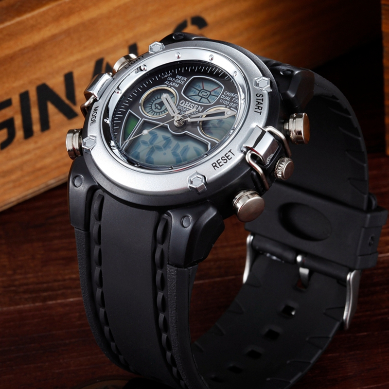 OHSEN Brand Sports Digital Quartz Wristwatches Boys Children 30M Waterproof Silicone Band Silver Fashion LED Kids Watches Gifts