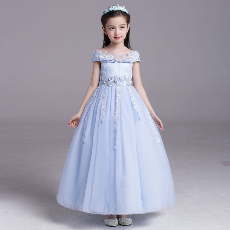 High-End New Baby Girls Dresses for Wedding and Party Blue Flower Girl Dress Bow Cotton Lining Kids Girls Princess Dresses 32V02