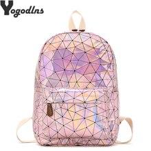 Bolsas de viaje grandes mochila láser para hombres y niñas, bolso de cuero PU, mochila holográfica, mochilas escolares para adolescentes, bolso de moda