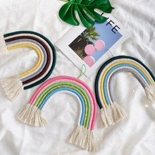 INS Nordic Cotton Rope Braided Rainbow Tassel Tapestry Wall Hanging Ornaments For Kids Room Decorations Crafts Gifts Photo Props