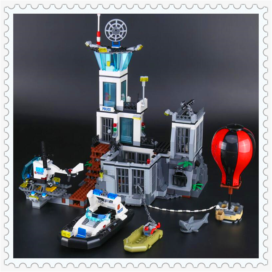 815Pcs City Series The Prison Island Model Building Block Toys LEPIN 02006 Figure Gift For Children Compatible Legoe 60130 lepin 02006 815pcs city police series the prison island set building blocks bricks educational toys for children gift legoings