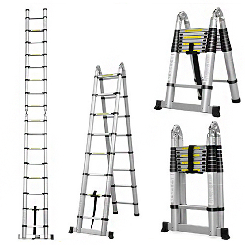 2.5m + 2.5m Aluminum Telescopic Ladder Retractable Folding  Aluminium With Joint Multipurpose Folding Step Ladder Portable