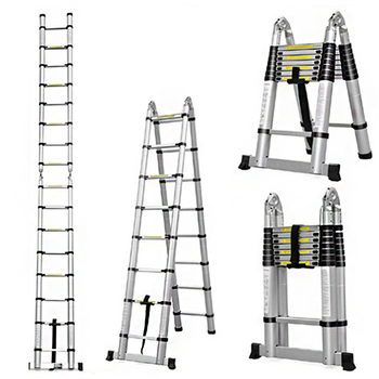 new 15 5ft step platform multi purpose all rustproof aluminum alloy folding scaffold step ladder for commercial use tool 2.5m + 2.5m Aluminum Telescopic Ladder retractable folding  Aluminium with Joint Multipurpose Folding Step Ladder Portable