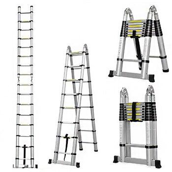 цена на 2.5m + 2.5m Aluminum Telescopic Ladder retractable folding  Aluminium with Joint Multipurpose Folding Step Ladder Portable