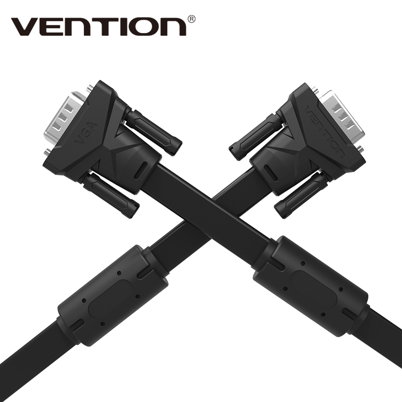 Vention Brand 1m 1.5m 2m 3m 5m 8m 10m 15m VGA to VGA Flat Cable Male to Male Black Braided Shielding for PC HDTV VGA Cabo Video