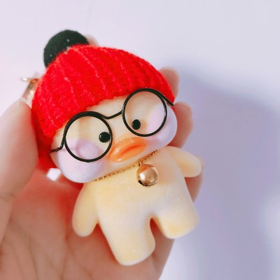 Little Cute knitted hat Duck doll key chain decoration cartoon backpack bag hanging key holder kids plush toys girls women gift