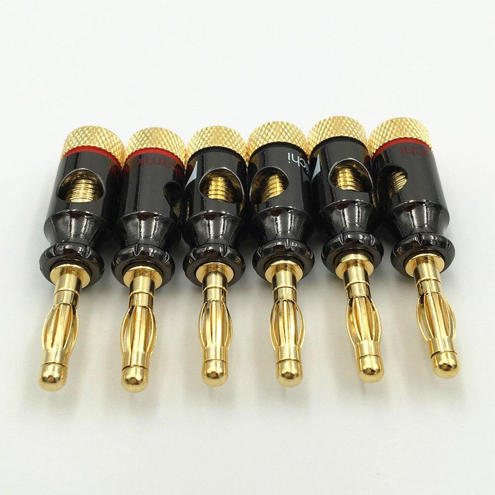 Image 2 - 8 pces nakamichi 4mm banana plug tipo espiral 24 k parafuso de ouro estéreo alto falante adaptador terminal de cobre de áudio conector eletrônicoconnector pcbterminal converterconnector for coaxial cable -