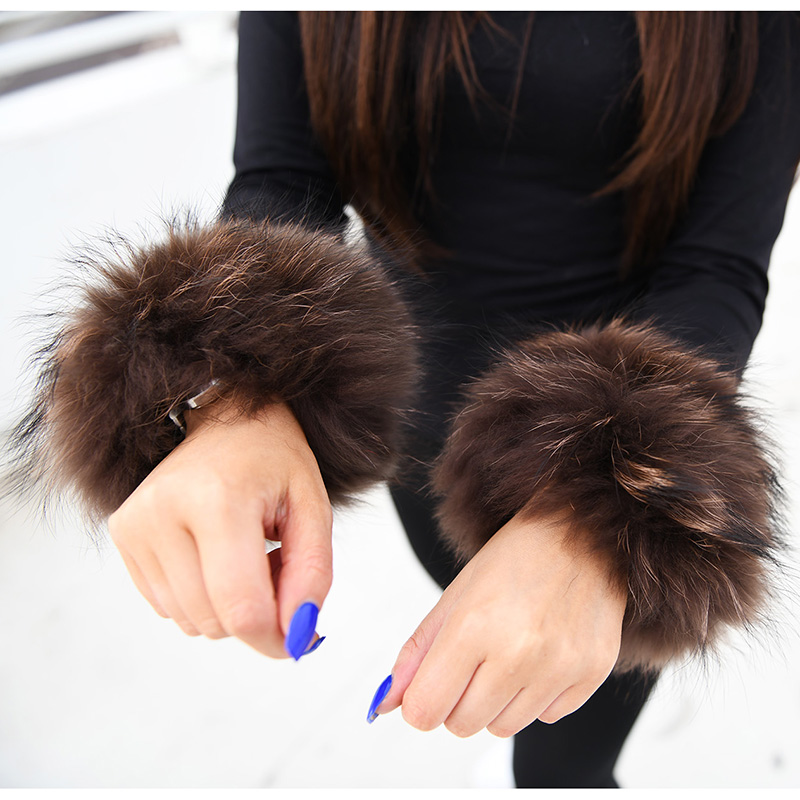 Industrious Cuff-2d Brown 2018 Winter Lady Bracelet Wristband Arm Warmer Real Raccoon Fur Cuff Women's Accessories