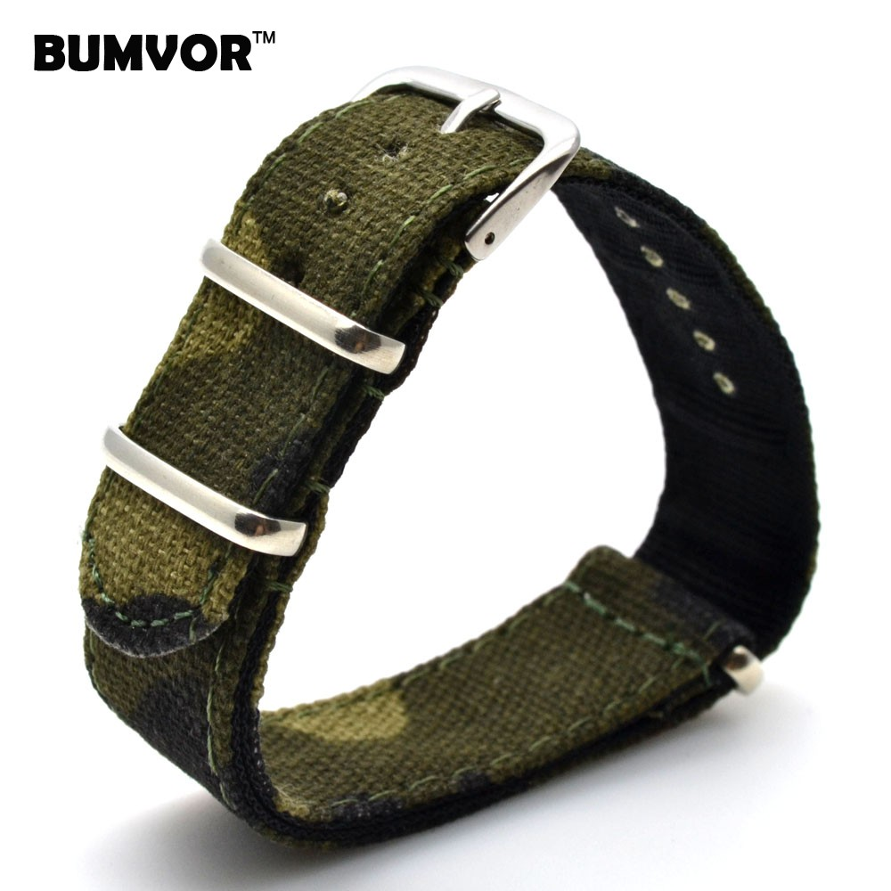 купить New Army Camouflage 18mm Nato Nylon Military Fabric Woven Watch watchband Strap Band Buckle belt 18 mm for Ladies Women по цене 128.53 рублей