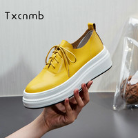TXCNMB 2019 new shoes woman flat Genuine leather lace up shoes female casual flats women comfortable platform casual women