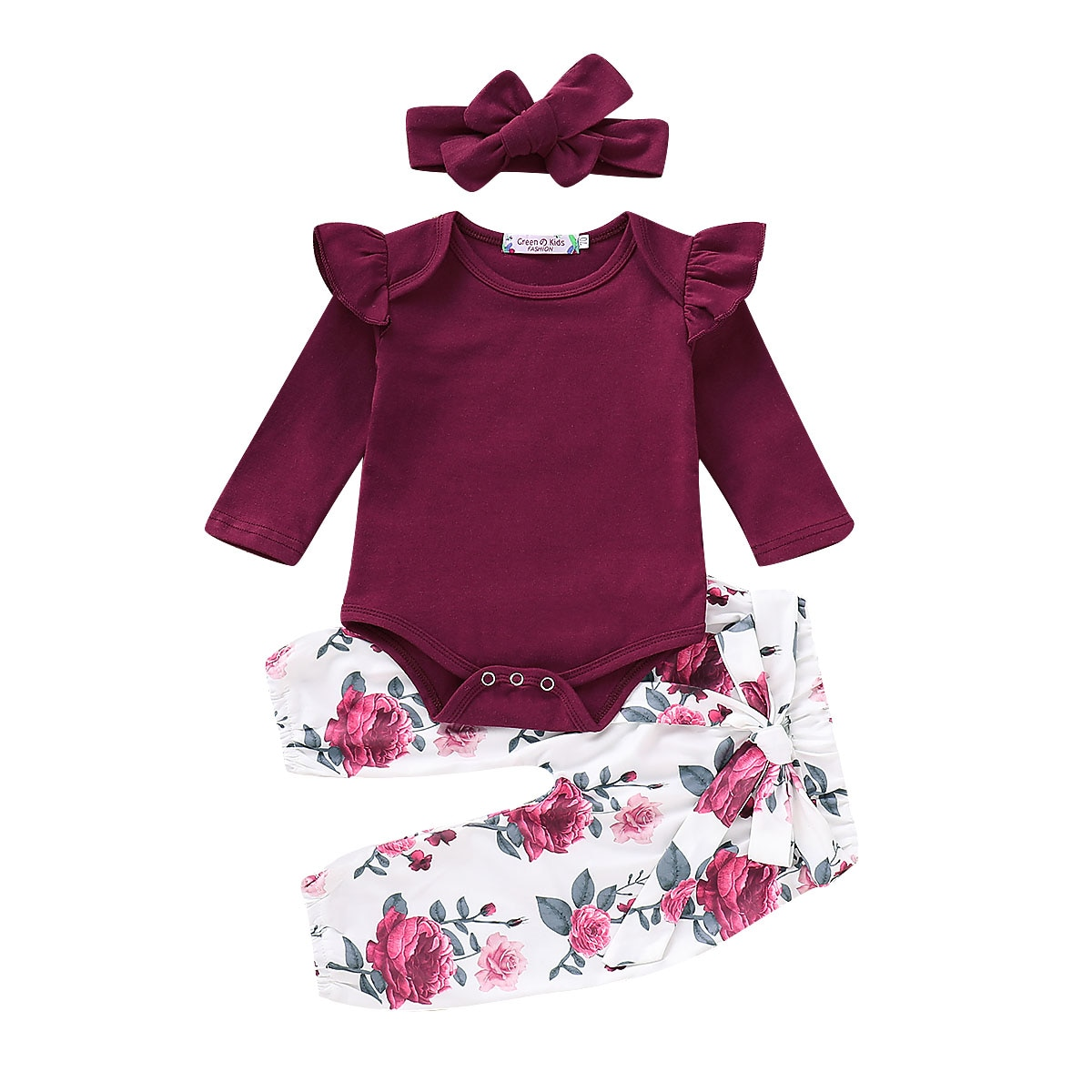Newborn Baby Girl Clothes Long Sleeve Tops Romper Flower Leggings Pants Outfit