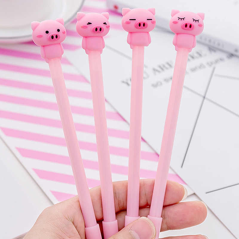 1 Piece Lytwtw's Kawaii Cute Kawaii Pink Pig Gel Pen Fashion School Office Supplies Students Gift Awards Accessories Stationery